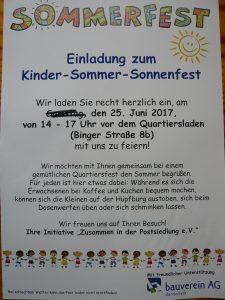 Einladung zum Kinder-Sommer-Sonnenfest am Sonntag, 25. Juni 2017