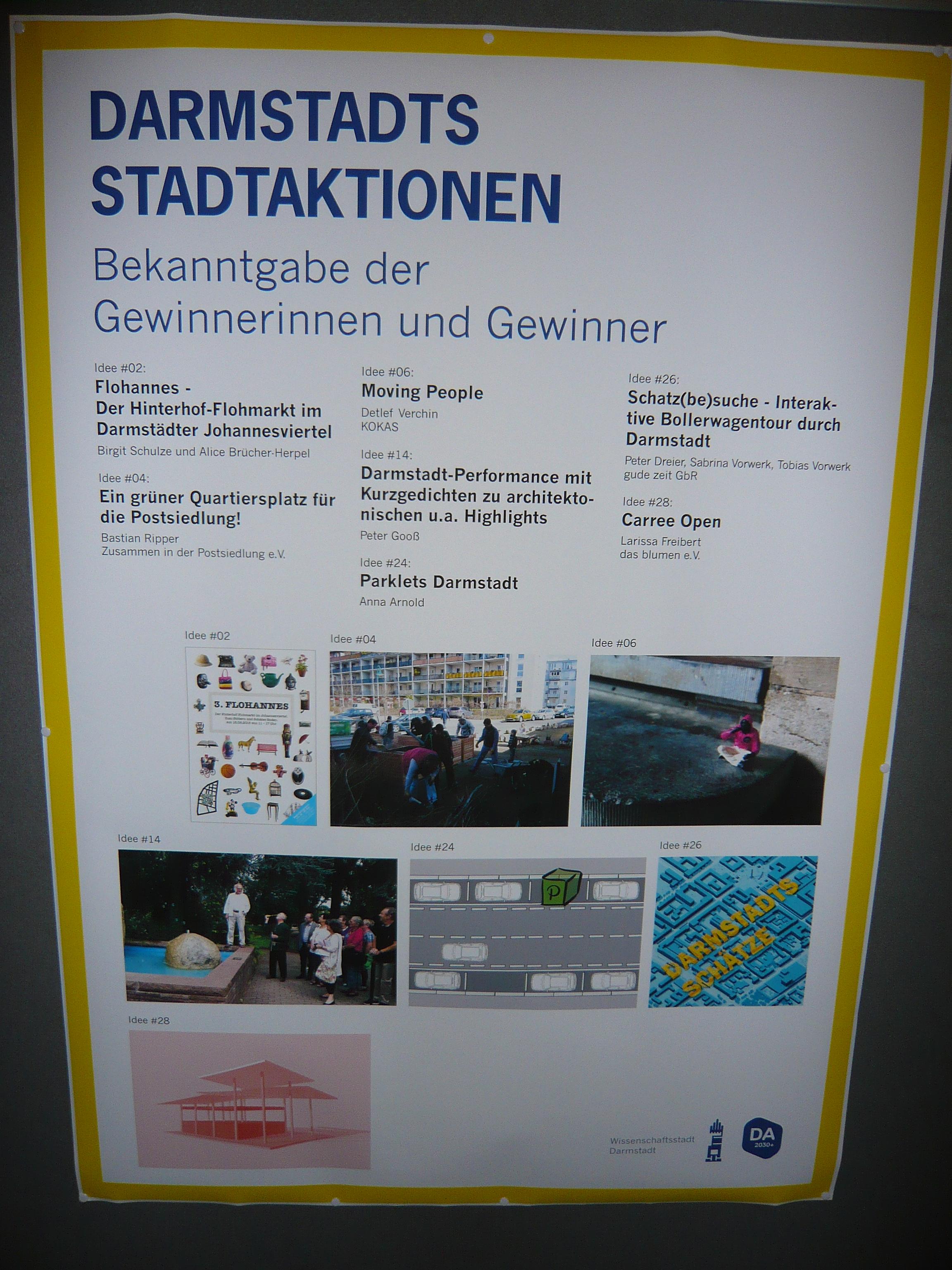 Gewinn bei > Stadtaktionen < des Masterplanprozess Darmstadt 2030+  !