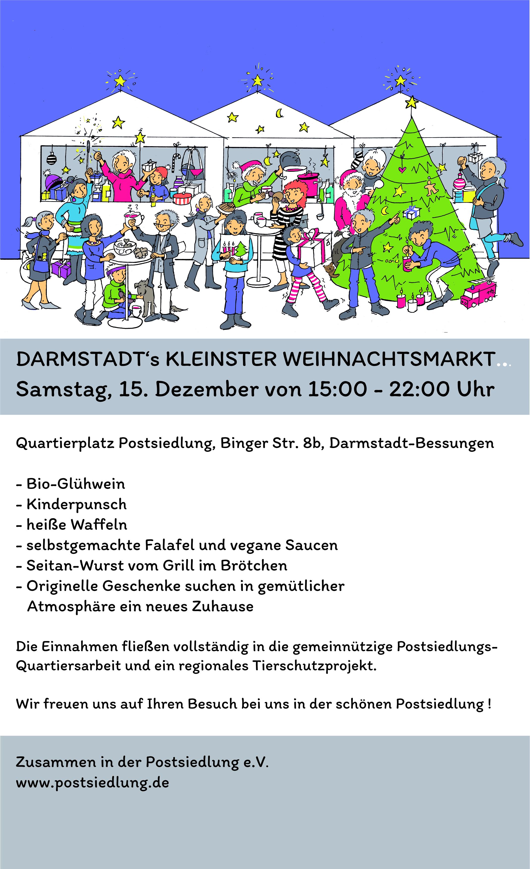 Am 15.12.2018 – Kleinster Weihnachtsmarkt Darmstadts auf dem Quartierplatz!