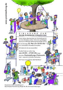 Einladung zur Baum-Rundbank Einweihung und Flohmarkt auf dem Quartierplatz am 12.Mai 2019