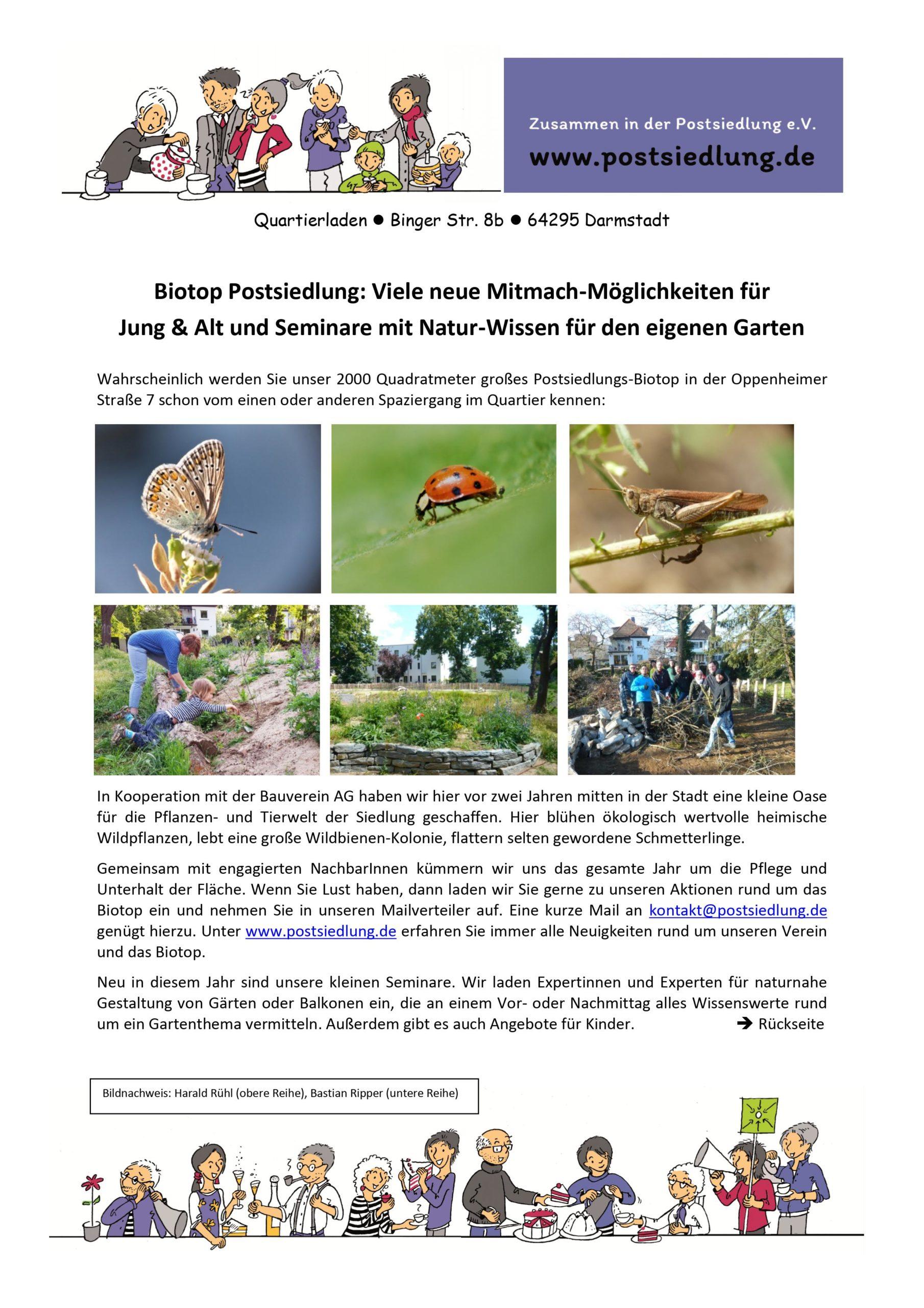 Biotop Postsiedlung im Gartenjahr 2021: Viele neue Mitmach-Möglichkeiten für Jung und Alt