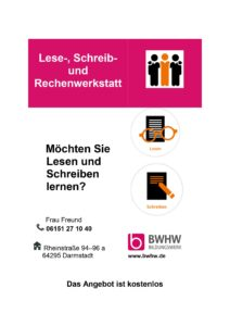 Read more about the article Konkrete Hilfe: Lese-, Schreib- und Rechenwerkstatt demnächst bei uns im Quartier