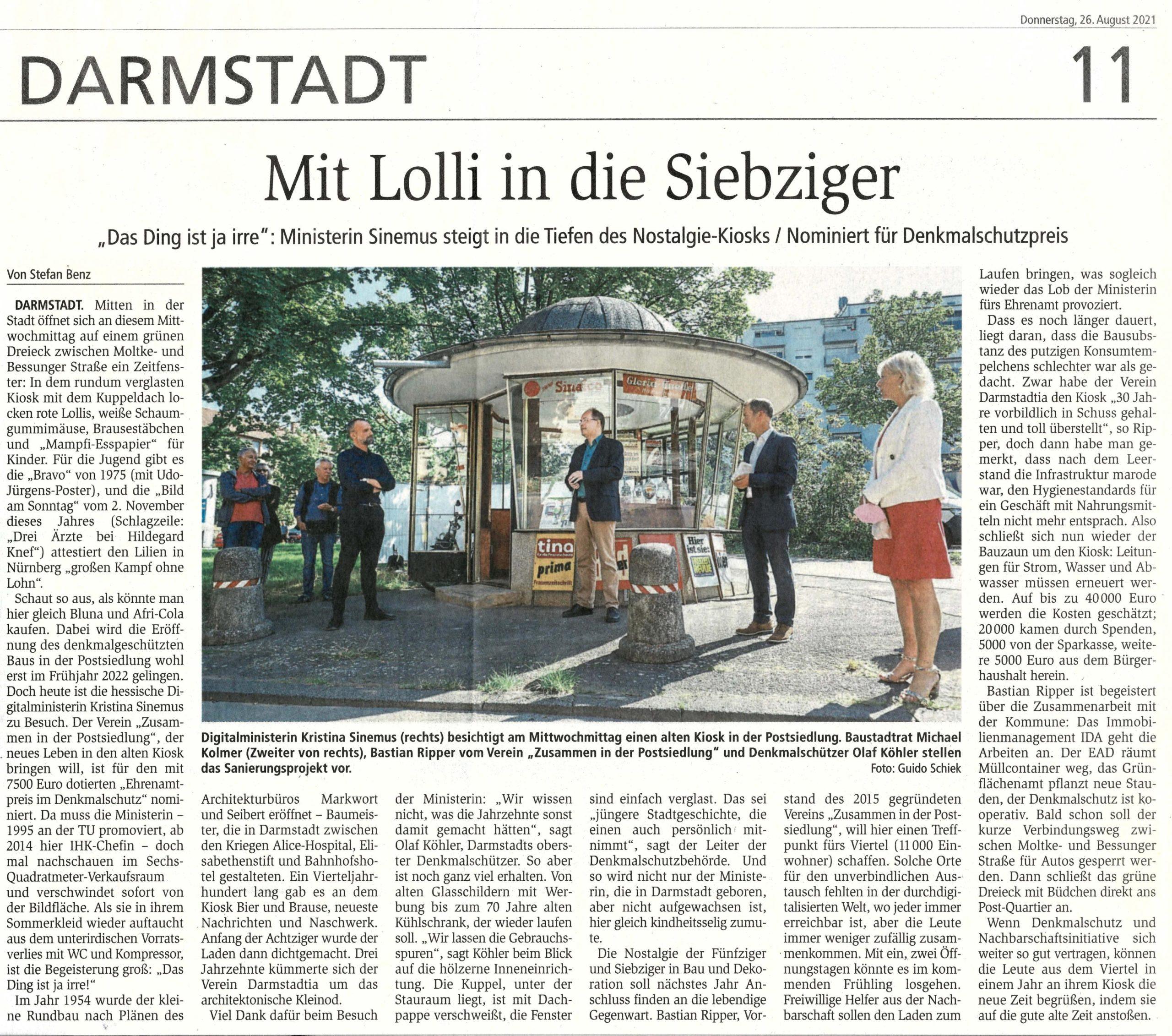Read more about the article Kiosk 1975: Schöne Beiträge im Fernsehen und Presse über Nominierung zum Landesdenkmalschutzpreis